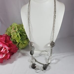 Long multistrand chain necklace gray clear 32""